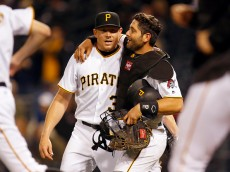 PITTSBURGH, PA - MAY 17:  Francisco Cervelli #29 of the Pittsburgh Pirates hugs Mark Melancon #35 after defeating the Atlanta Braves 12-9 at PNC Park on May 17, 2016 in Pittsburgh, Pennsylvania.  (Photo by Justin K. Aller/Getty Images)