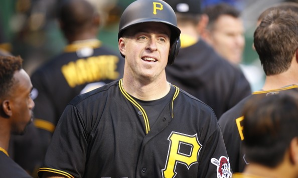 PITTSBURGH, PA - JUNE 20:  Erik Kratz #38 of the Pittsburgh Pirates celebrates after hitting a home run in the fifth inning during the game against the San Francisco Giants at PNC Park on June 20, 2016 in Pittsburgh, Pennsylvania.  (Photo by Justin K. Aller/Getty Images)