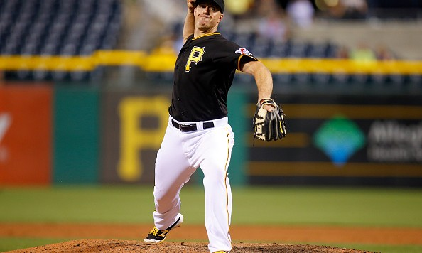 PITTSBURGH, PA - JUNE 21:  Erik Kratz #38 of the Pittsburgh Pirates pitches in the ninth inning during the game against the San Francisco Giants at PNC Park on June 21, 2016 in Pittsburgh, Pennsylvania.  (Photo by Justin K. Aller/Getty Images)