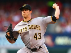 ST. LOUIS, MO - JULY 5: Starter Steven Brault #43 of the Pittsburgh Pirates makes his MLB debut while pitching against the St. Louis Cardinals in the first inning at Busch Stadium on July 5, 2016 in St. Louis, Missouri.  (Photo by Dilip Vishwanat/Getty Images)