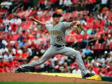 ST LOUIS, MO - JULY 07: Tyler Glasnow #51 of the Pittsburgh Pirates pitches to a St. Louis Cardinals batter during the second inning of his Major League debut at Busch Stadium on July 7, 2016 in St Louis, Missouri. (Photo by Jeff Curry/Getty Images)