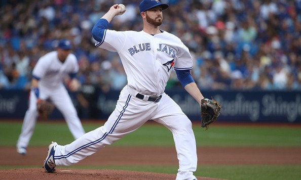 TORONTO, CANADA - JULY 7: Drew Hutchison #36 of the Toronto Blue Jays delivers a pitch in the first inning during MLB game action against the Detroit Tigers on July 7, 2016 at Rogers Centre in Toronto, Ontario, Canada. (Photo by Tom Szczerbowski/Getty Images)