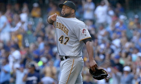 MILWAUKEE, WI - JULY 31:  Francisco Liriano #47 of the Pittsburgh Pirates reacts after giving up a home run to Chris Carter #33 of the Milwaukee Brewers in the fifth inning at Miller Park on July 31, 2016 in Milwaukee, Wisconsin. (Photo by Dylan Buell/Getty Images)