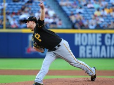 ATLANTA, GA - AUGUST 3: Jeff Locke #49 of the Pittsburgh Pirates throws a first inning pitch against the Atlanta Braves at Turner Field on August 3, 2016 in Atlanta, Georgia. (Photo by Scott Cunningham/Getty Images)