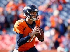 DENVER, CO - JANUARY 24:  Quarterback Brock Osweiler #17 of the Denver Broncos warms up before the AFC Championship game against the New England Patriots at Sports Authority Field at Mile High on January 24, 2016 in Denver, Colorado. The Broncos defeated the Patriots 20-18.  (Photo by Christian Petersen/Getty Images)