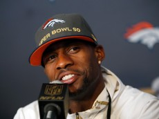 SANTA CLARA, CA - FEBRUARY 02:  Denver Broncos wide receiver Emmanuel Sanders speaks to the media at the Broncos media availability at the Santa Clara Marriott on February 2, 2016 in Santa Clara, California.  (Photo by Ezra Shaw/Getty Images)