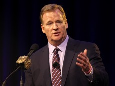 SAN FRANCISCO, CA - FEBRUARY 05:  NFL Commissioner Roger Goodell speaks during a press conference prior to Super Bowl 50 at the Moscone Center West on February 5, 2016 in San Francisco, California.  (Photo by Mike Lawrie/Getty Images)