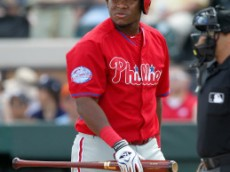 Mar 14, 2015; Lakeland, FL, USA; Philadelphia Phillies infielder Maikel Franco returns to the bench after striking out during a spring training baseball game at Joker Marchant Stadium. The Philadelphia Phillies defeated the Detroit Tigers 5-4. Mandatory Credit: Reinhold Matay-USA TODAY Sports