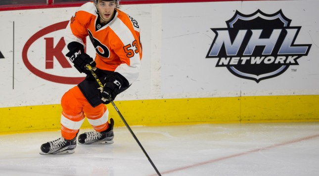 5 January 2016: Philadelphia Flyers defenseman Shayne Gostisbehere (53) looks to pass during the NHL hockey game between the Montreal Canadiens and the Philadelphia Flyers played at Wells Fargo Center in Philadelphia, PA. (Photo by Gavin Baker/Icon Sportswire)