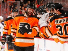 PHILADELPHIA, PA - MARCH 05:  Radko Gudas #3 of the Philadelphia Flyers celebrates his goal against Curtis McElhinney #30 of the Columbus Blue Jackets during their game at the Wells Fargo Center on March 5, 2016 in Philadelphia, Pennsylvania.  (Photo by Al Bello/Getty Images)