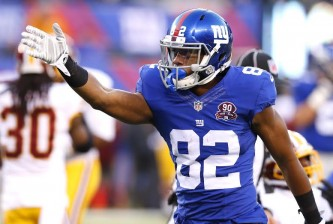 Hackensack, New Jersey  12/14/14  Rueben Randle #82 of the New York Giants celebrates a big reception in the fourth quarter in a football game at MetLife Stadium on December 14, 2014.  (Paul J. Bereswill)