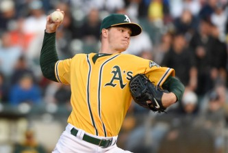 May 29, 2015; Oakland, CA, USA; Oakland Athletics starting pitcher Sonny Gray (54) delivers a pitch during the second inning against the New York Yankees at O.co Coliseum. Mandatory Credit: Kyle Terada-USA TODAY Sports