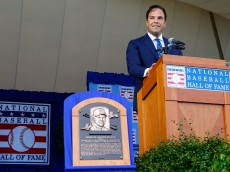 COOPERSTOWN, NY - JULY 24:  Mike Piazza gives his induction speech at Clark Sports Center during the Baseball Hall of Fame induction ceremony on July 24, 2016 in Cooperstown, New York.  (Photo by Jim McIsaac/Getty Images)