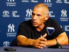 NEW YORK, NY - AUGUST 07:  New York Yankees manager Joe Girardi speaks during a news conference on August 7, 2016 at Yankee Stadium in the Bronx borough of New York City.  (Photo by Jim McIsaac/Getty Images)