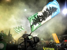 PORTLAND, OR - APRIL 04: Members of the 'Timbers Army', fans of the Portland Timbers, celebrate after the team scored a goal during the second half of the game against the FC Dallas at Providence Park on April 4, 2015 in Portland, Oregon.  (Photo by Steve Dykes/Getty Images)
