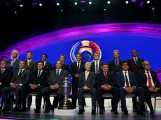 NEW YORK, NY - FEBRUARY 21:  The coaches representing the 16 teams pose for a picture after the 2016 Copa America Centenario - Draw Ceremony at Hammerstein Ballroom on February 21, 2016 in New York City.  (Photo by Elsa/Getty Images)