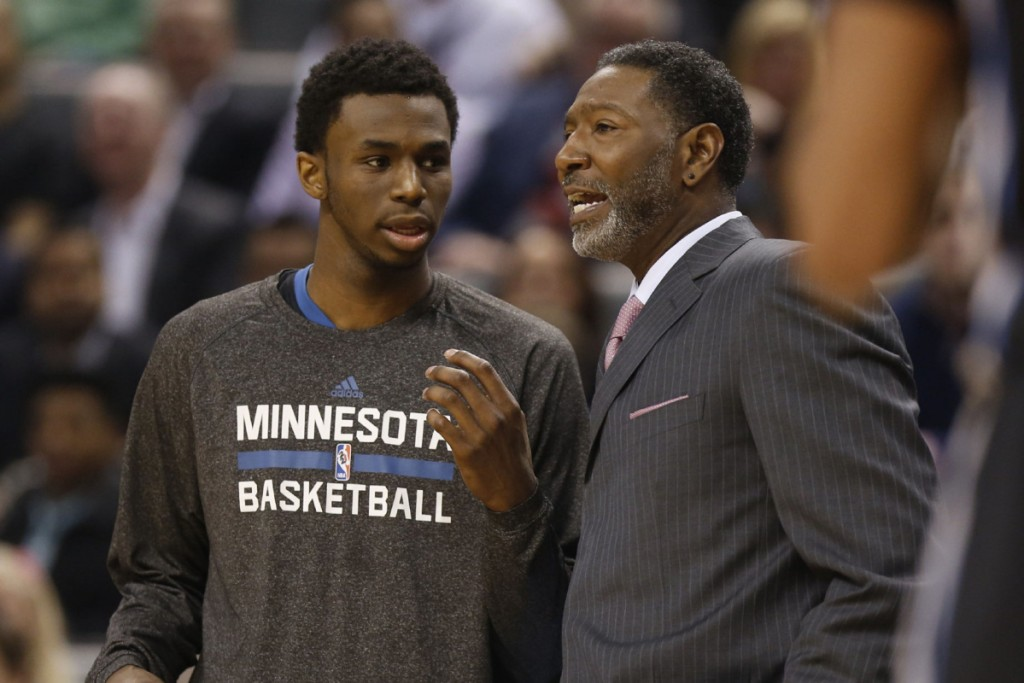 SP-RAPTORS18MAR TORONTO, ON - MARCH 18  - Timberwolves' Andrew Wiggins talks with coach Sam Mitchell during action between Minnesota Timberwolves and Toronto Raptors at the Air Canada Centre,  March 18, 2015.  Bernard Weil/Toronto Star