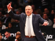 NEW YORK, NY - NOVEMBER 30:  Tom Thibodeau, Head coach of the of the Chicago Bulls gives instructions against the Brooklyn Nets during their game at the Barclays Center on November 30, 2014 in New York City.  (Photo by Al Bello/Getty Images)