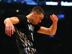 TORONTO, ON - FEBRUARY 13: Zach LaVine of the Minnesota Timberwolves reacts after a dunk in the Verizon Slam Dunk Contest during NBA All-Star Weekend 2016 at Air Canada Centre on February 13, 2016 in Toronto, Canada. NOTE TO USER: User expressly acknowledges and agrees that, by downloading and/or using this Photograph, user is consenting to the terms and conditions of the Getty Images License Agreement.  (Photo by Elsa/Getty Images)