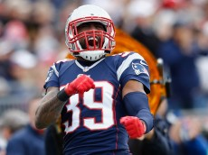 FOXBORO, MA - OCTOBER 26:  Brandon Browner #39 of the New England Patriots reacts during the third quarter against the Chicago Bears at Gillette Stadium on October 26, 2014 in Foxboro, Massachusetts.  (Photo by Jim Rogash/Getty Images)