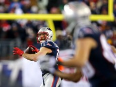 during the 2015 AFC Divisional Playoffs game at Gillette Stadium on January 10, 2015 in Foxboro, Massachusetts.