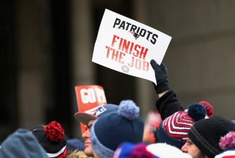<> during the New England Patriots Send-Off Rally at City Hall Plaza on January 26, 2015 in Boston, Massachusetts.