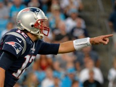 CHARLOTTE, NC - AUGUST 28:  Tom Brady #12 of the New England Patriots reads the Carolina Panthers defense in the 1st quarter during their preseason NFL game at Bank of America Stadium on August 28, 2015 in Charlotte, North Carolina.  (Photo by Grant Halverson/Getty Images)