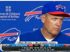 An upset Rex Ryan answering questions after another loss to the New England Patriots.
