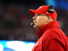 FOXBORO, MA - JANUARY 16:  Head coach Andy Reid of the Kansas City Chiefs looks on in the second half against the New England Patriots during the AFC Divisional Playoff Game at Gillette Stadium on January 16, 2016 in Foxboro, Massachusetts.  (Photo by Al Bello/Getty Images)