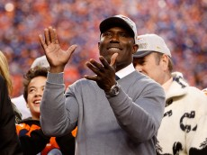 DENVER, CO - JANUARY 24: Former Denver Bronco Shannon Sharpe celebrates after defeating the New England Patriots in the AFC Championship game at Sports Authority Field at Mile High on January 24, 2016 in Denver, Colorado. The Broncos defeated the Patriots 20-18. (Photo by Christian Petersen/Getty Images)