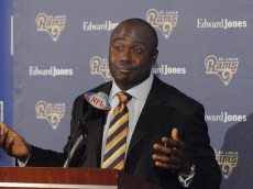 St. Louis Rams running back Marshall Faulk at a press conference to announce  his retirement. Faulk, a commentator for the NFL Network, is attending the NFL's 2007 annual meeting at the Arizona Biltmore in Phoenix, Arizona on March 26, 2007.  (Photo by Al Messerschmidt/Getty Images)