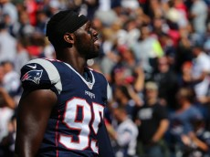 FOXBORO, MA - SEPTEMBER 27:   Chandler Jones #95 of the New England Patriots looks on during the game against the Jacksonville Jaguars at Gillette Stadium on September 27, 2015 in Foxboro, Massachusetts.  (Photo by Maddie Meyer/Getty Images)