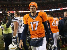 DENVER, CO - JANUARY 03:  Quarterback Brock Osweiler #17 of the Denver Broncos leaves the field after defeating the San Diego Chargers at Sports Authority Field at Mile High on January 3, 2016 in Denver, Colorado. The Broncos defeated the Chargers 27-20.  (Photo by Doug Pensinger/Getty Images)