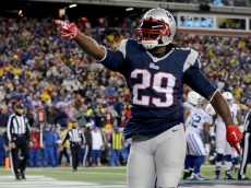 FOXBORO, MA - JANUARY 18:  LeGarrette Blount #29 of the New England Patriots celebrates scoring a touchdown in the first quarter against the Indianapolis Colts of the 2015 AFC Championship Game at Gillette Stadium on January 18, 2015 in Foxboro, Massachusetts.  (Photo by Jim Rogash/Getty Images)
