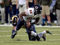 ST. LOUIS, MO - NOVEMBER 15: Martellus Bennett #83 of the Chicago Bears is tackled in the third quarter against the St. Louis Rams at the Edward Jones Dome on November 15, 2015 in St. Louis, Missouri. (Photo by Michael B. Thomas/Getty Images)