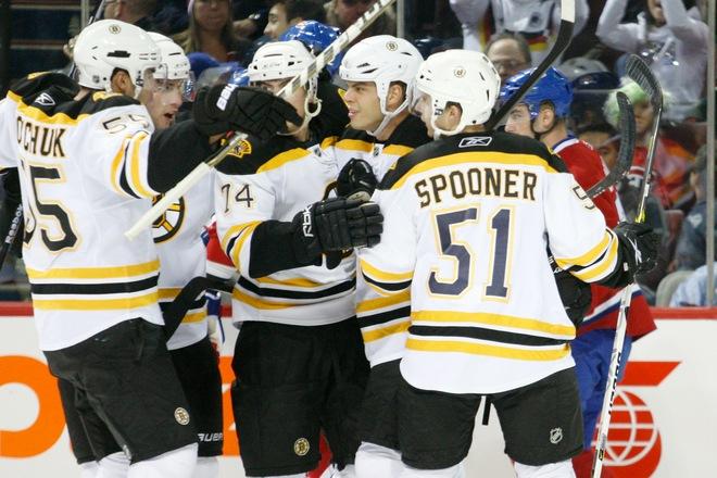 Bruins celebrate goal