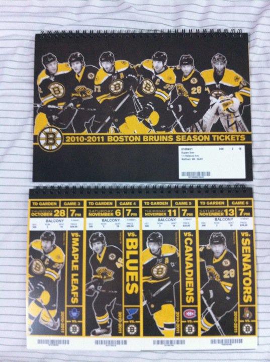 Boston Bruins 2010-2011 season tix
