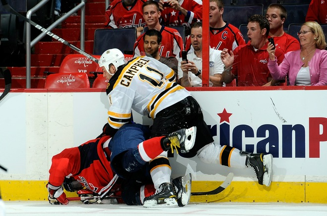 Ovechkin falls into boards; Greg Campbell laughs