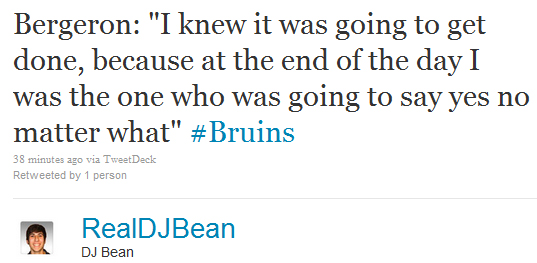 DJ Bean tweet on Bergy signing
