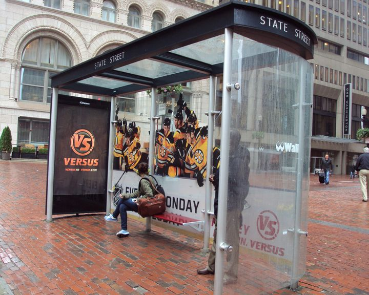 Boston Bruins State St. bus shelter VERSUS ad
