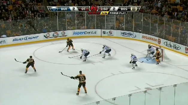 Mark Recchi goal in Ryan Miller 1