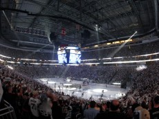 PITTSBURGH, PA - MAY 1:  A general view of Consol Energy Center during pre-game introductions between the Pittsburgh Penguins and the New York Islanders in Game One of the Eastern Conference Quarterfinals during the 2013 NHL Stanley Cup Playoffs at Consol Energy Center on May 1, 2013 in Pittsburgh, Pennsylvania.  (Photo by Justin K. Aller/Getty Images)