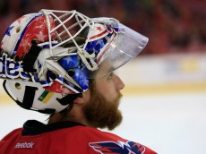 WASHINGTON, DC - FEBRUARY 21: Goalie Braden Holtby #70 of the Washington Capitals looks on during the second period against the New York Islanders at Verizon Center on February 21, 2015 in Washington, DC.  (Photo by Rob Carr/Getty Images)