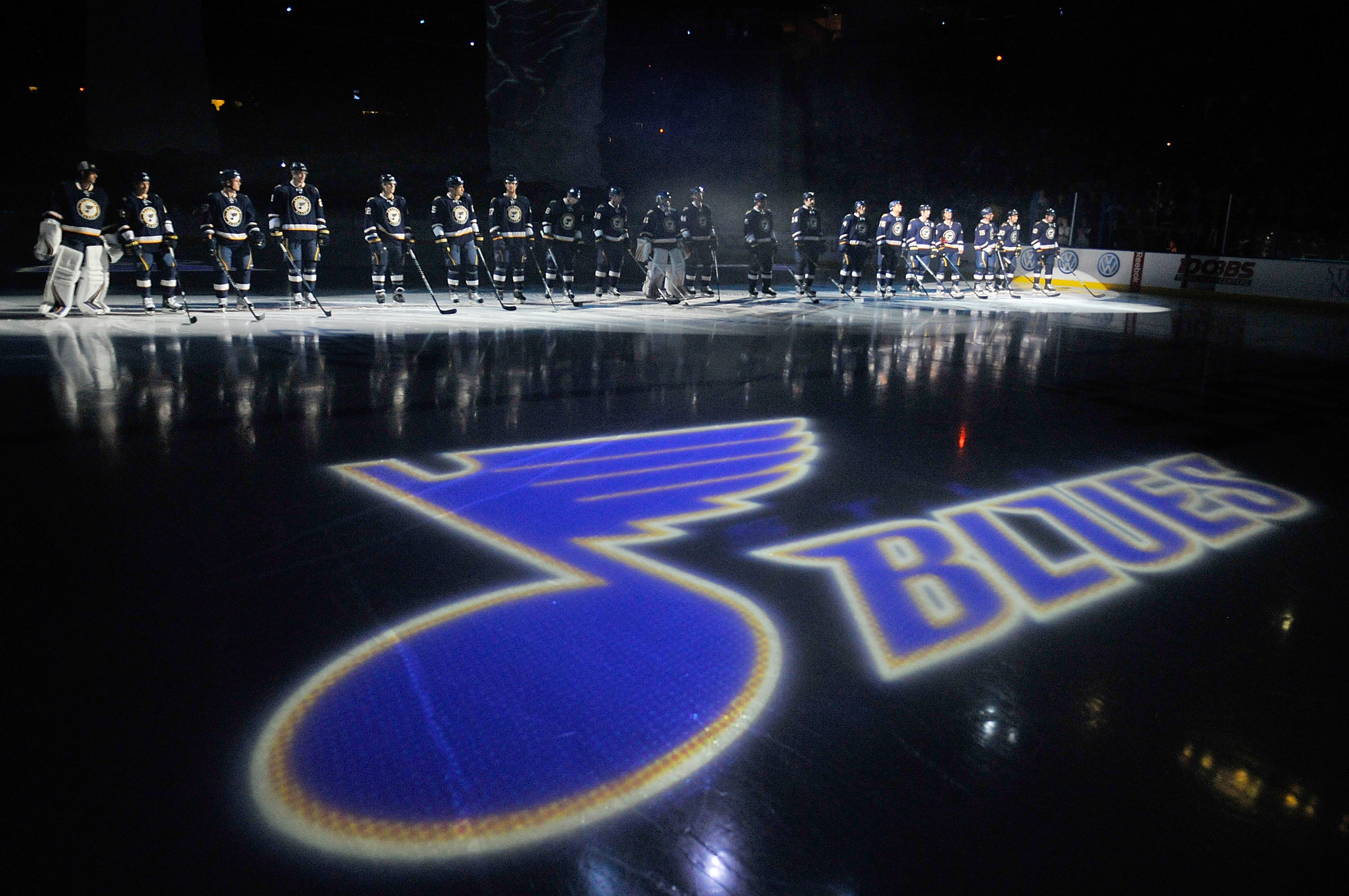 ST. LOUIS, MO - OCTOBER 8: The St. Louis Blues are introduced before a game against the Nashville Predators at Scottrade Center on October 8, 2011 in St. Louis, Missouri.  (Photo by Jeff Curry/Getty Images)