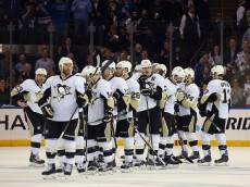 NEW YORK, NY - APRIL 24:  The Pittsburgh Penguins lines up for handshakes after their series defeat against the New York Rangers in Game Five of the Eastern Conference Quarterfinals during the 2015 NHL Stanley Cup Playoffs at Madison Square Garden on April 24, 2015 in New York City.  The Rangers defeated the Penguins 2-1 to win the series and move on to the next round of the playoffs.  (Photo by Bruce Bennett/Getty Images)