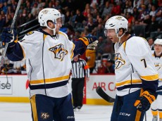 DENVER, CO - APRIL 07:  Calle Jarnkrok #19 of the Nashville Predators celebrates his goal against the Colorado Avalanche with Matt Cullen #7 of the Nashville Predators who earned an assist on the play to take a 1-0 lead in the first period at Pepsi Center on April 7, 2015 in Denver, Colorado.  (Photo by Doug Pensinger/Getty Images)
