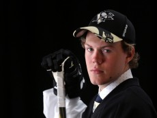 SUNRISE, FL - JUNE 27:  Daniel Sprong poses for a portrait after being selected 46th overall by the Pittsburgh Penguins during the 2015 NHL Draft at BB&T Center on June 27, 2015 in Sunrise, Florida.  (Photo by Mike Ehrmann/Getty Images)
