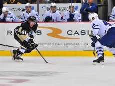 PITTSBURGH, PA - OCTOBER 17: Daniel Sprong #41 of the Pittsburgh Penguins skates with the puck against the Toronto Mapleleafs during the game at Consol Energy Center on October 17, 2015 in Pittsburgh, Pennsylvania. (Photo by Matt Kincaid/Getty Images)