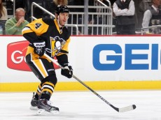 PITTSBURGH, PA - OCTOBER 22:  Rob Scuderi #4 of the Pittsburgh Penguins skates against the Philadelphia Flyers at Consol Energy Center on October 22, 2014 in Pittsburgh, Pennsylvania.  (Photo by Gregory Shamus/NHLI via Getty Images) *** Local Caption ***R