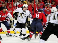 WASHINGTON - MAY 04:  Alex Ovechkin #8 of the Washington Capitals skates past Sidney Crosby #87 of the Pittsburgh Penguins during Game Two of the Eastern Conference Semifinal Round of the 2009 Stanley Cup Playoffs on May 4, 2009 at the Verizon Center in Washington,  DC.  (Photo by Len Redkoles/Getty Images)